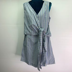 Sleeveless Tunic Mini Dress Faux Wrap Drape Stripe